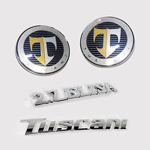 Hyundai Motors Genuine 863202C000, 863302C000 Front Hood Rear Trunk 2.7 Elisa Tuscani Logo Emblem 4-pc Set For 01 02 03 04 05 06 Hyundai Tiburon : Coupe SIII
