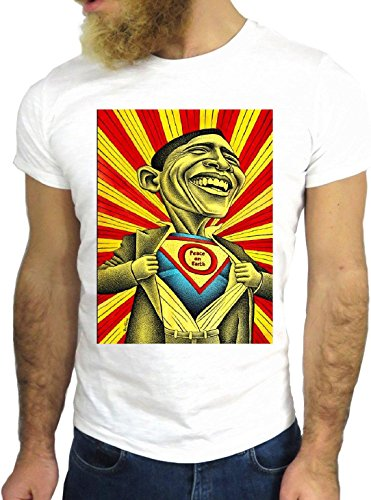 T SHIRT JODE Z3150 OBAMA AMERICAN PRESIDENT SUPER HERO COOL FUN NICE USA GGG24 BIANCA - WHITE L