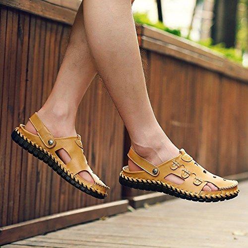 Cuir Tête Et Main À Hommes Creuse Daily Xiaoqi Air Cousue Plage Beige Chaussures La Sandales Plein Pour Pantoufles De Casual 76aEaAwqv