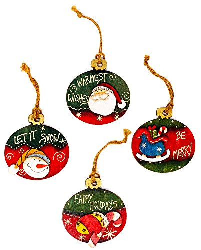 (Harbor 55 Christmas Ornament Decorations Wood Oval, Painted, Set of 4, Snowman and Santa, Gift Tags)