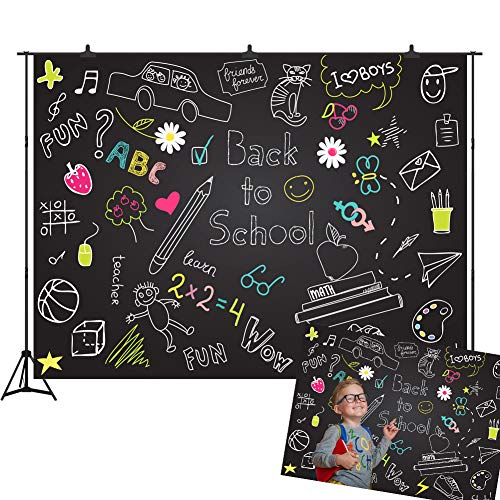 Back to School Blackboard Backdrop for Children 7X5FT Doodles Photography Background Photo Booth Props Hand Drawn Vinyl Party - Vinyl School