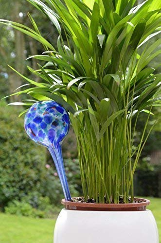 Neat Ideas - Decorative Glass Aqua Water Globes 2 Pack Green and Blue (water your plants)