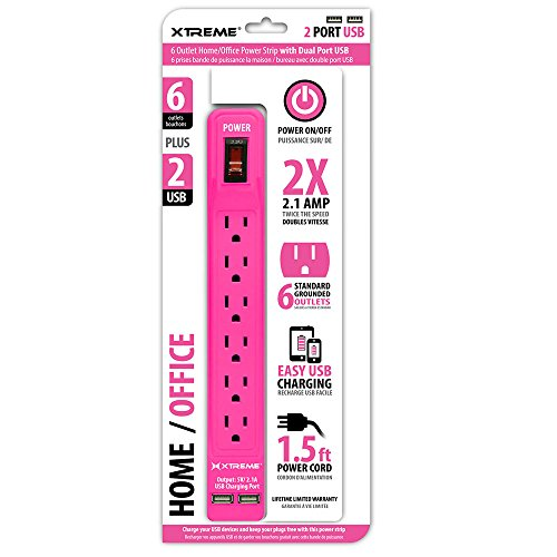 Xtreme Cables 6 Outlet Home/Office Power Strip with Dual Port USB, Pink (XWS8-0105-PNK)