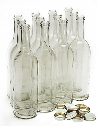 Home Brew Ohio 750 ml Clear Screw Cap Wine Bottles with 28 mm Metal Screw Caps