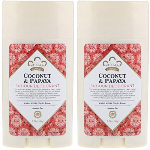 Nubian Heritage 24-Hour Natural Deodorant (Coconut & Papaya), With Coconut Oil, Papaya Extract, Shea Butter & Grapefruit Seed Ex