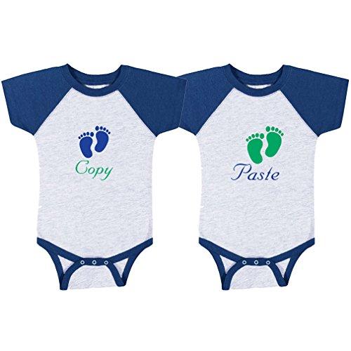 Copy Paste Baby Food Print Baby Baseball Raglan Bodysuit Twin Set Gray Royal Blue 18 - Bodysuit Print Baseball