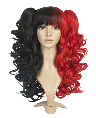 ZUUC Lolita Clip on Two Ponytails Wavy Party Costume Cosplay Wig (Black&Red ZU1622B) (Red Ponytail Wig)