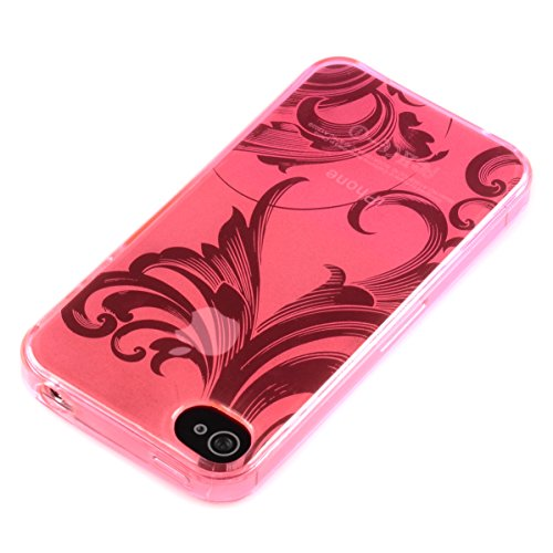 deinPhone - iPhone 4 4S Case Schutzhülle Schutz Handy Hülle Bumper Tasche Etui Schale Silikon Case BIG Flower in Pink