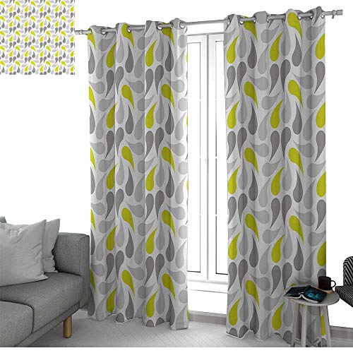 """NUOMANAN Blackout Lined Curtains Geometric,Abstract Paisley Design Middle Eastern Culture Inspired Retro Ornate,Yellow Green Grey White,Thermal Insulated,Grommet Curtain Panel Set of 2 120""""x96"""""""