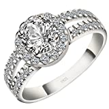 Viyino 925 Sterling Silver Cubic Zirconia Promise Halo Anniversary Wedding Band Solitaire Engagement Ring (9)
