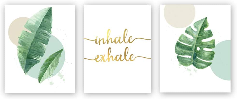 Watercolor Green Leaf Print&Inhale Exhale Quote Gold Foil Print, Botanical Painting Yoga Room Cardstock Art Poster Wall Decor (set of 3, 8'' x 10'',Unframed)