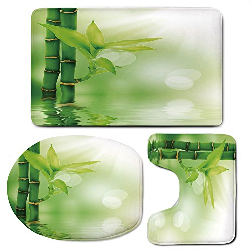3 Piece Bath Mat Rug Set,Plant,Bathroom Non-Slip Floor Mat,Chinese-Ecology-Picture-of-Bamboo-Sticking-out-of-the-Water-Serene-Atmosphere-Decorative,Pedestal Rug + Lid Toilet Cover + Bath Mat,Emerald-G by iPrint