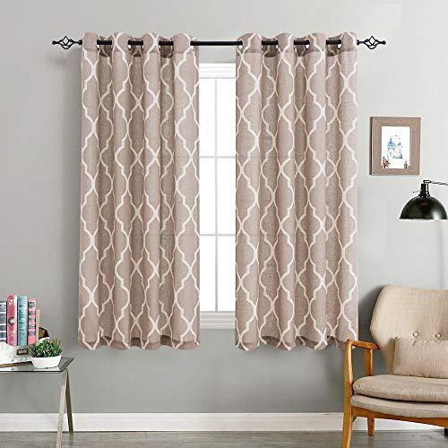 jinchan Linen Curtains Flax Linen Blend Textured Curtain Moroccan Tile Print Window Curtain Drapes Set for Living Room Lattice Quatrefoil 72