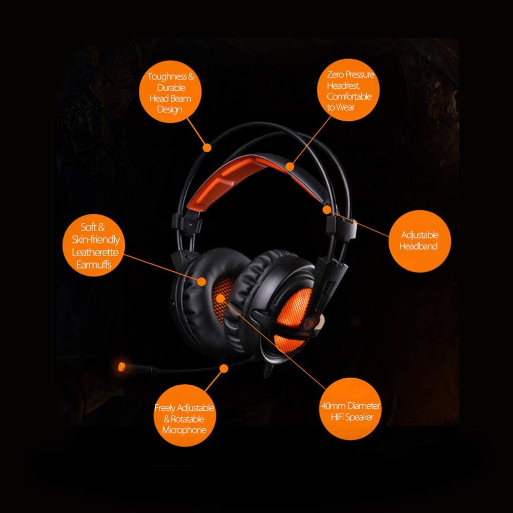Color : Black USB 7.1 Stereo Wired Gaming Headset Gaming Headset with Microphone Voice Control Laptop Game Player