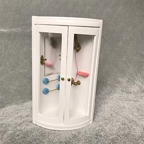 NszzJixo9 Dollhouse Miniature Furniture Wooden White Bathroom Shower Room Cabinet Pretend Play Toy Good1:12 Doll House Good Accessory Doll House Wooden Miniature Refrigerato