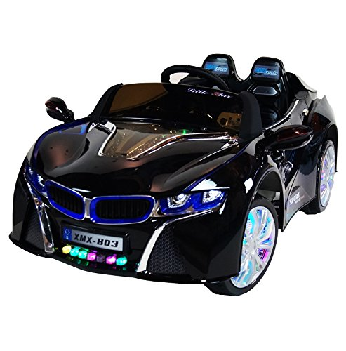 BMW-i8-Style-Premium-12-volt-MP3-Electric-Battery-Powered-Ride-On-Kids-Boys-Girls-Toy-Car-RC-Parental-Remote-LED-Lights-Music-Real-Paint-Black