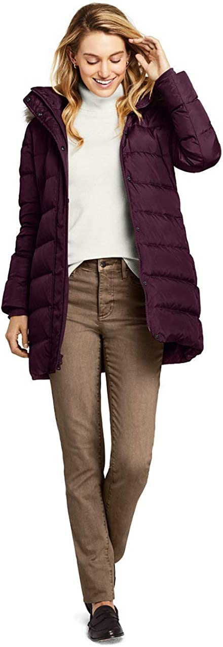 Lands End Womens Winter Long Down Coat with Faux Fur Hood