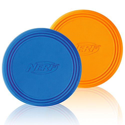 Nerf Dog Rubber Flyer Flying Disc Dog Toy, Large, (2-Pack), Blue and Orange