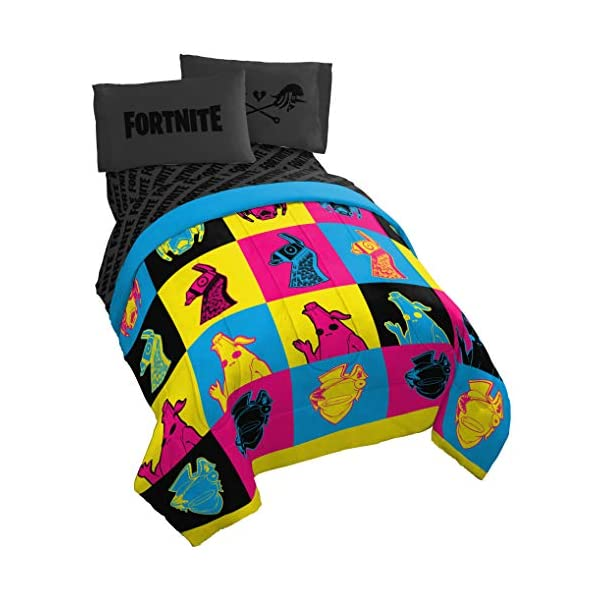 Jay Franco Fortnite Neon Warhol 5 Piece Full Bed Set – Includes Comforter & Sheet Set – Bedding Features Llama, Peely, Vertex – Super Soft Fade Resistant Microfiber – (Official Fortnite Product)