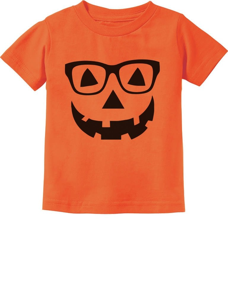 Cute Little Geeky Pumpkin Halloween Jack O' Lantern Toddler/Infant Kids T-Shirt 3T Orange