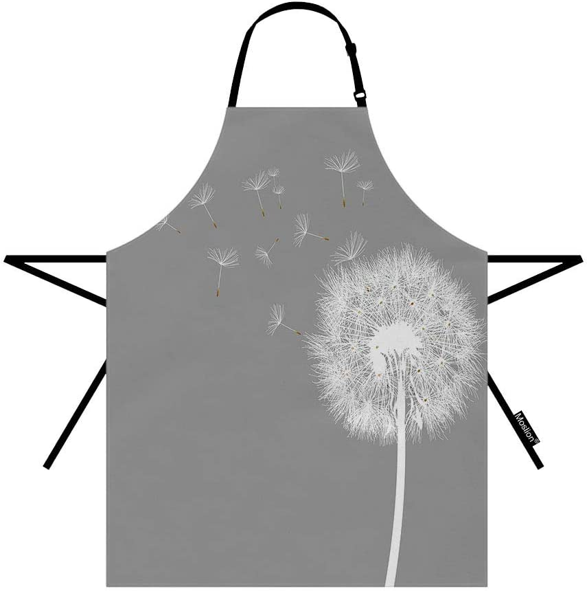 Moslion Dandelion Apron 31x27 Inch Summer Nature Wild Botanical Dandelion Blossom in Wind Sky Air Kitchen Chef Waitress Cook Aprons Bib with Adjustable Neck for Women Men Girls
