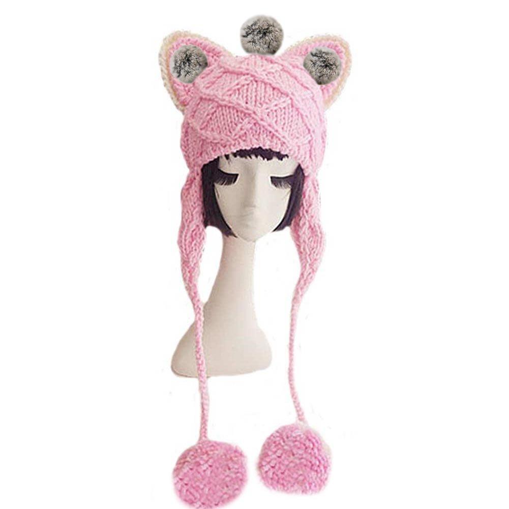 BIBITIME Handmade Cat Ears Beanie Knitted Earflap Pom Hat Women Winter Warm Cap One Size)