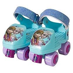 Disney Frozen Junior Adjustable Rollerskates and Knee Pad Combo Fits Sizes J6-J12