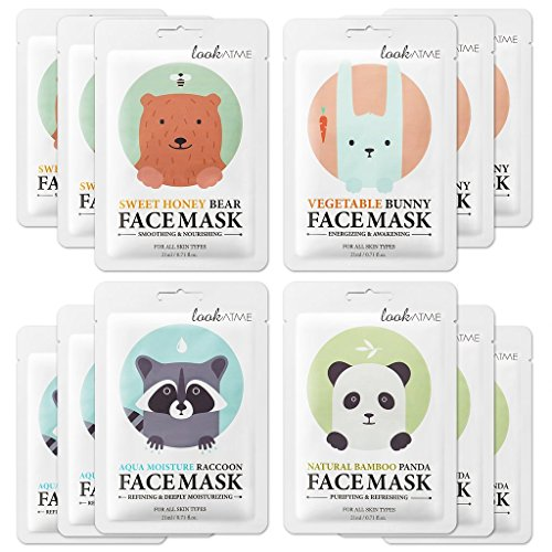 Lookatme Animal face mask - 12 Premium Cute Face Sheet Masks For Purifying, Energizing, Smoothing, Moisturizing. Awesome Korean skin care -