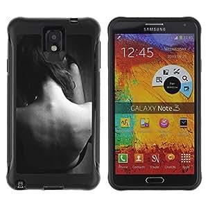 """Pulsar iFace Series Tpu silicona Carcasa Funda Case para SAMSUNG Galaxy Note 3 III / N9000 / N9005 , Copia de señora Woman Negro Blanco Sad"""""""