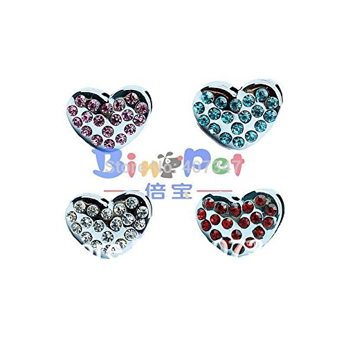 ArMordy(TM)MOQ 24 pcs can mix 4 colors,10mm rhinestones heart sliders, DIY pet letters personalized pet collar charm ()