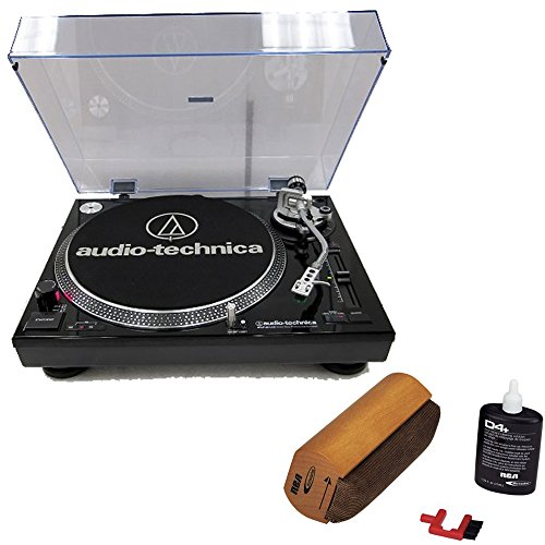Audio-Technica ATLP120USB Professional Stereo Turntable w/ USB LP to DIG Recording Piano Black With RCA Turntable Cleaning System by Audio-Technica