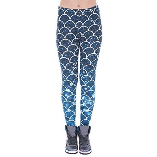 Shiny Starry Scale Leggings Mermaid Fish Scale Printed Leggings Pants for Women