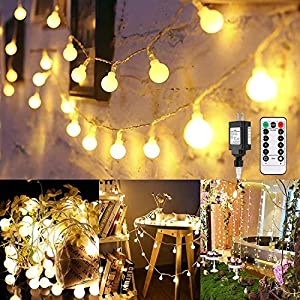Globe String Lights, 100 LED Decorative String Lights Outdoor, Plug in String Lights, Waterproof Fairy Lights Remote…