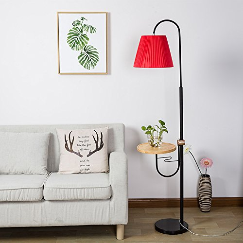 WENBO HOME- Home floor lamp bedroom bedside lamp coffee table high and low adjustable lighting -floor lamp ( Color : Red )