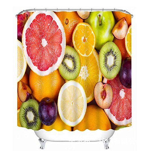 Fresh Off The Boat Costume (EZON-CH Waterproof Modern Good Mildew Resistance Various Fresh Fruit Lemon Peach Grapes Kiwi Polyester Farbic Bathroom Shower Curtain(66X72IN))