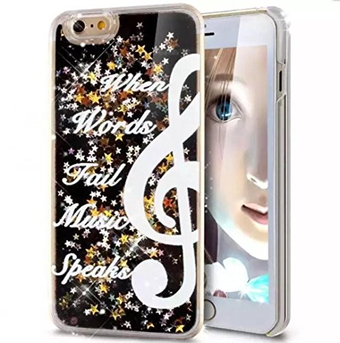 iPhone 6/6S Luck Case, OMORRO Newest Attractive Glitter Flowing Floating Quicksand Dynamic Moving Liquid Stars Sequins Vogue Protection Case for Apple iPhone 6/6S Music ()