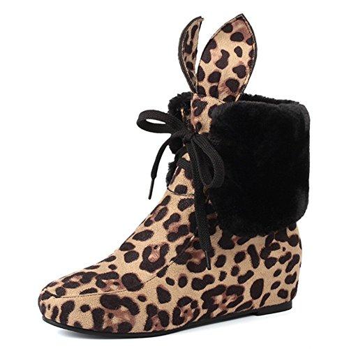 Fashion Heel Snow Boots, Damen Stiefel , Mehrfarbig - Leopard - Größe: 40