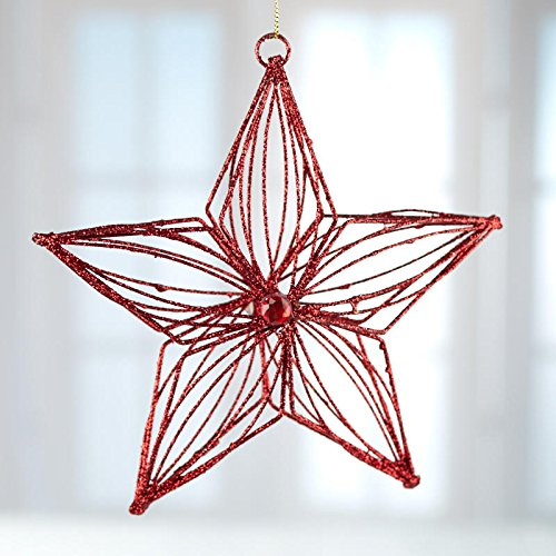 Glittered Star Ornament - Factory Direct Craft Red Glittered Metal Star Ornaments 4 Ornaments