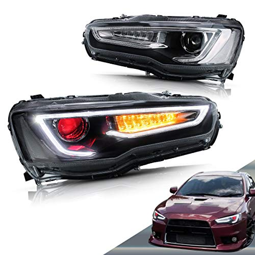 VLAND LED Headlights for Mitsubishi Lancer EVO X Sedan 2008-2017 (Projector Headlight Assembly with Dual Beam and Demon Eyes) YAA-YS-0162CH