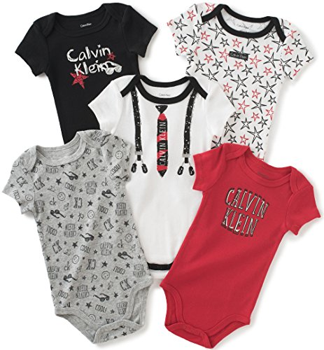 calvin-klein-baby-boys-assorted-short-sleeve-bodysuit-white-red-3-6-months-pack-of-5