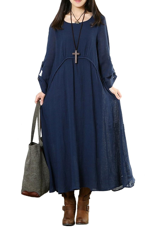 MatchLife Damen Langarm Freizeitkleider Rundhals Kleider