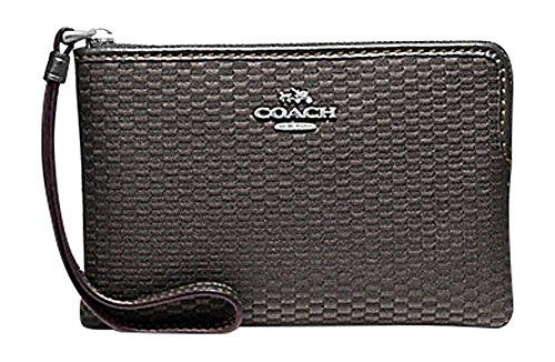 Coach Legacy Jacquard Corner Zip Small Wristlet Grey Black - Coach Grey