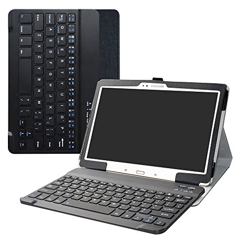 Galaxy Tab S 10.5 Bluetooth Keyboard Case,Bige Slim Stand PU Leather Cover with Romovable Bluetooth Keyboard for Samsung Galaxy Tab S 10.5 Sm-t800 Sm-t801 Sm-t805 t807 Tablet,Black by Bige
