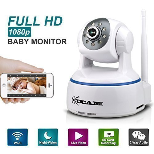 KUCAM 1080P WiFi Wireless IP Security Camera, Pan Tilt Night Vision Baby Monitor Nanny Cam with 2 Way Audio