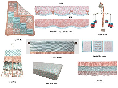 Bacati Sophia Paisley Girls 10 Piece Nursery-in-A-Bag Crib Bedding Set with Rail Guard, Coral/Aqua