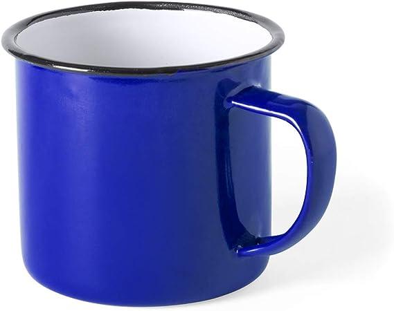 FUN FAN LINE - Set de Tazas metálicas Vintage o Retro presentada en Caja Individual (Azul, 4 Tazas): Amazon.es: Hogar