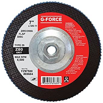 7 Diameter Griton FZ975120 Industrial Type 29 Abrasive Flap Disc 5//8 11 Hub 120 Grit Zirconia Alumina Grain Pack of 10