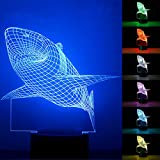 YiaMia 3D Shark LED Night Light Multi 7 Color Changing Touch Switch Optical Table lamp USB Powered for Home Room Bar Party Festival Decor Kids Birthday Creative Gifts Toys