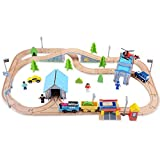 Wooden Train Track Set, 100% Compatible with Thomas, Brio, Chuggington,80 pcs Wooka Toddler Toys for kids
