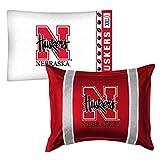 2pc NCAA Nebraska Huskers Pillowcase and Pillow Sham Set College Team Logo Bedding Accessories